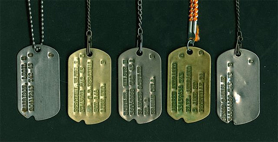 Grouping Of Dog Tags Illustrating Different Metal Tags