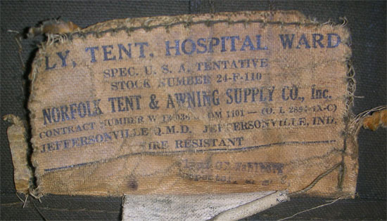 Illustration showing label on a Fly Tent Hospital Ward. This particular item was manufactured by Norfolk Tent u0026 Awning Supply Co. Inc. & WW2 Medical Tentage | WW2 US Medical Research Centre