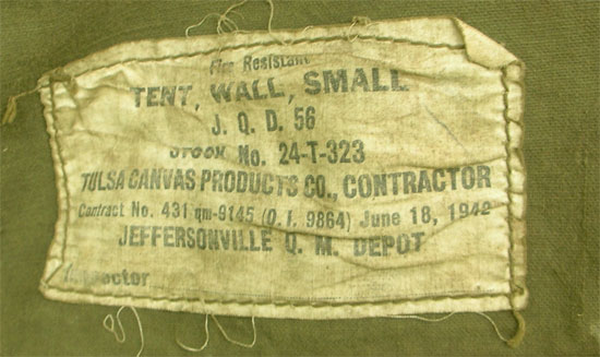 Photograph showing the label of a Tent Wall Small. This ex&le has been made by Tulsa Canvas Products Co. and is dated 18 June 1942.  sc 1 st  WW2 US Medical Research Centre & WW2 Medical Tentage | WW2 US Medical Research Centre