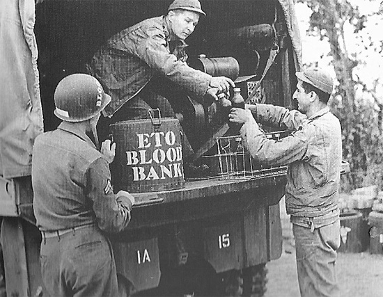 Normandy June July 1944 Eto Blood Bank Supplying Blood By