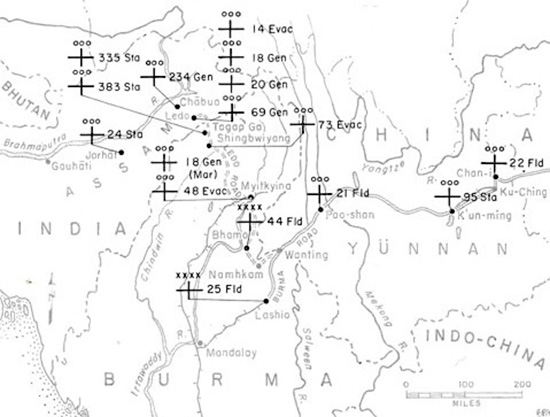 General Map Ilrating Us Army Hospitals Stationed In India Northern Burma And China During The First Half Of 1945