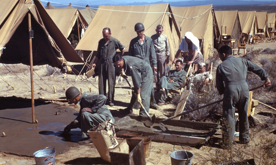 Hospital personnel mix cement and prepare solid bases for the Small Wall Tents being used as quarters for the 51stu0027s staff. & 51st Evacuation Hospital | WW2 US Medical Research Centre