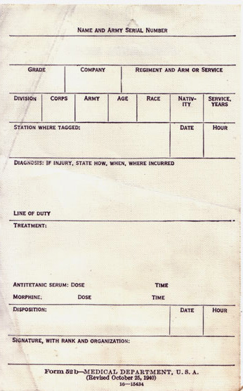Form  52b-MEDICAL DEPARTMENT, U.S.A. (Revised October 25, 1940), 16-15434
