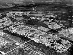 Aerial view of Camp McCoy, Sparta, Wisconsin, the largest holding facility for Japanese Prisoners of War in the Zone of Interior (this camp housed both relocated Japanese-Americans from the West Coast, as well as German, Italian, and Japanese PWs captured during WW2).