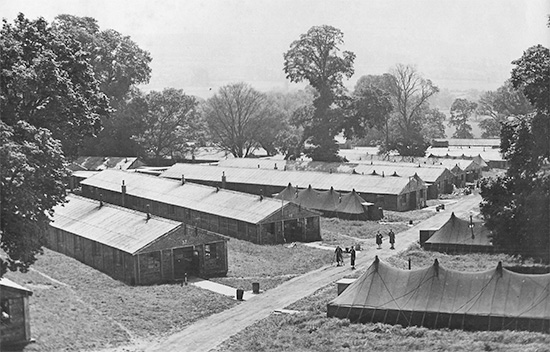 Partial aerial view of the grounds illustrating the hutments and tents occupied by the 74th General Hospital (Hospital Plant # 4165) while stationed at Tyntesfield, Somerset England. Courtesy Gregory Sobieski.