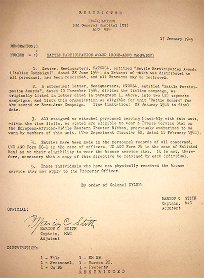 Copy of Memorandum Letter No. 4, dated January 17, 1945, dealing with Battle Participation Awards related to the Italian Campaign.