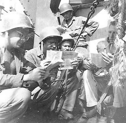 "Personnel of the 603d Medical Clearing Company aboard APA-12 ""Leonard Wood"" on their way to Leyte Island, Philippines, October 1944."
