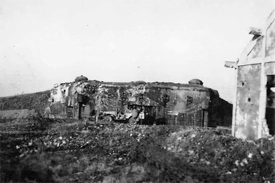 4th Convalescent Hospital Headquarters jeep near a German casemate, somewhere in Germany, around spring of 1945.