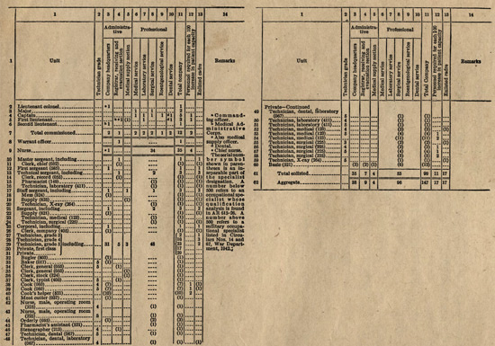 Personnel chart showing the organization of a Medical Hospital Ship Company, as per T/O 8-537 dated April 1, 1942