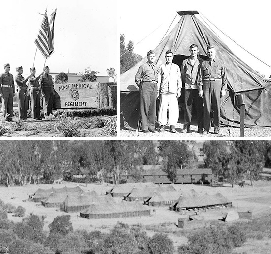 Top Left: Official Flag Ceremony, 1st Medical Regiment, La Mesa, California, December 1942. Top Right: Picture of Pat Corbett, two patients, and Glenn E. Turner, in front of a M-1934 Pyramidal Tent, D Company, 1st Medical Regiment, La Mesa, California, December 1942. Bottom: 1st Medical Regiment set up under tentage at La Mesa, California, some time in 1942.