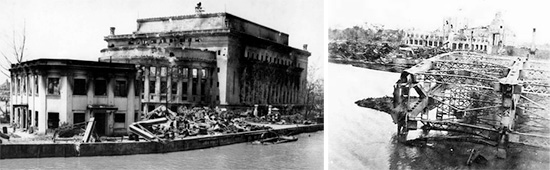 Left: View of the destroyed Post Office building in Manila, Capital city of the Philippines. Right: View of one of the destroyed bridges over the Pasig River. Both pictures taken May-June 1945.