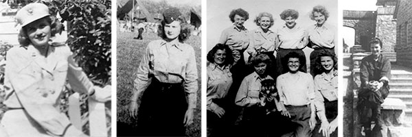 From L to R: Picture of 1st Lieutenant Betty J. Flanagan in white dress uniform before leaving for the European Theater; 1st Lieutenant Betty J. Flanagan, ANC, at Moosburg, Stalag VII-A, Germany, May 1945; group picture of ANC Officers, with 1st Lt. Betty J. Flanagan, bottom row, far right, taken while stationed near Moosburg, 16 May 1945; another picture of 1st Lieutenant Betty J. Flanagan in front of KZ Mauthausen, Austria, around May-June 1945. All pictures courtesy Anne M. Kutchmire.