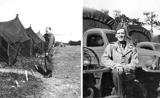 Left: Picture of Captain James Howell, MC, taken while the Hospital was stationed at Camp McPherson, ZI, between January and September 1943. Right: Picture of Private First Class Ralph K. Sellers, at the Motor Pool, Camp McPherson, ZI.