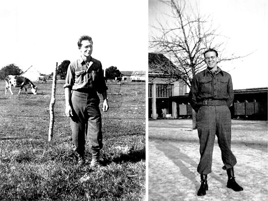Left: Picture of Private Francis Felke, taken during the Hospital's stay in Maastricht Holland, early October 1944. Right: Picture of Sergeant Ralph K. Sellers, in Maastricht, Holland, during winter.
