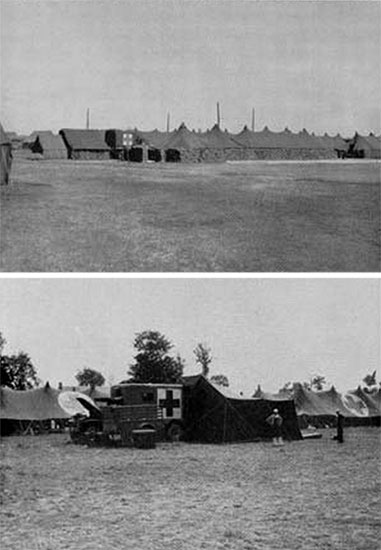 Top: Overview of the sandbagged surgical area which was established at the 50th Field Hospital. Also of interest is the Mobile X-Ray Unit in the background (truck adorned with Geneva Convention markings). Bottom: Photograph showing a Surgical Truck complete with Tent (Stock No. 24-T-321-40) at the 50th Field Hospital's complex in Weymouth, England. Photograph taken June 1944.
