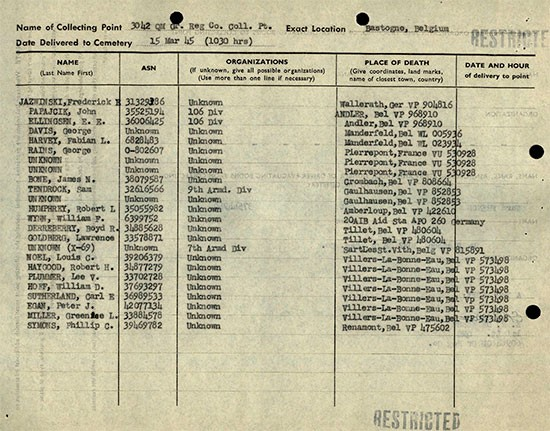 Report of 3042d QM GR Co listing American dead grouped at one of their Collecting Points near Bastogne, Belgium, dated 15 March 1945.