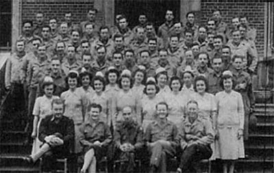 "Group picture of Detachment ""A"", 50th Field Hospital, somewhere in Leicestershire, England."