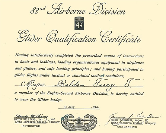 Glider Qualification Certificate obtained by Major Jerry J. Belden, Commanding Officer, 307th Airborne Medical Company, dated 31 July 1944.