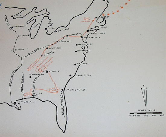Map of the eastcoast of the United States illustrating the various stages of movement effected by the 5th Evacuation Hospital in the Zone of Interior from activation to departure for overseas (15 June 1942 > 6 December 1943).