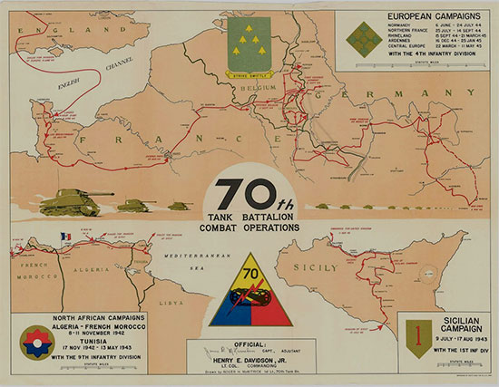 Operations Map of the 70th Tank Battalion during World War II.