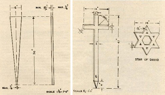 Illustration of a temporary wooden Name Peg (FM 10-63 page 40). + Illustration of a temporary Greek Cross and Star of David, wooden items (FM 10-63 page 41).