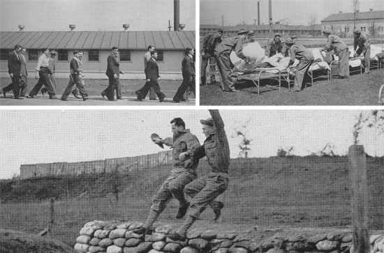 Top left: Reception: new men are being marched to the Recruit Reception Center barracks. Top right: Recruits air their beds in anticipation of their first night in camp. Bottom: Trainees are jumping ditches. Physicial development and conditioning are some of the most important aspects of training.