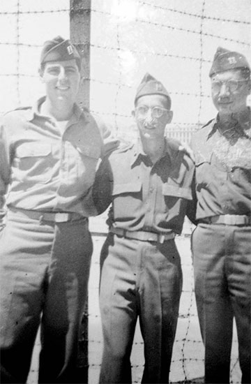 Marseille Port of Embarkation, Southern France, July 1945. From L to R: Captains Henry B. Wolfe, DC; Roman, MC; and S. Leventhal, MC; some time prior to leaving for the Zone of Interior.