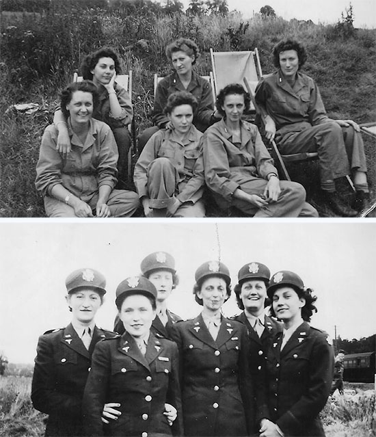 Nurses of the 11th Hospital Train in Exeter, England, July 1944. Front row; from L to R: Nurses Helen Lawrence, Graham, Kennedy. Back row; from L to R: Adrienne Van Houten, Kenny, Watt. Another picture taken in Exeter during the same period. From L to R: Nurses Kenny, Graham, Watt, Kennedy, Helen Lawrence, Adrienne Van Houten. Courtesy Van P. Keele.