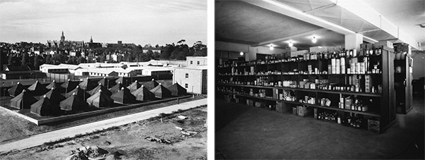 4th General Hospital in Australia. Left: partial view of the Hospital's initial setup at the Royal Park, Melbourne. Right: Inside view of the Hospital's Medical Supply Room, at the Royal Melbourne Hospital.