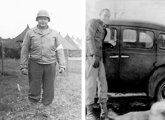 Colonel C. A. Best (L) CO, 35th Evacuation Hospital. Staff Sergeant Robert W. Langston (R). Courtesy Larry Langston.