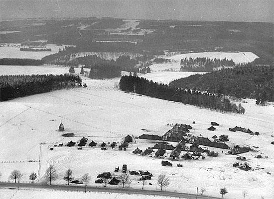 Aerial view of the 326th A/B Med Co's setup near Sainte-Ode, Belgium, 18 December 1944 (where the small hospital was eventually captured by the enemy).