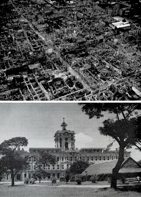 Top > Destructions in the walled city, Manila, May 1945. Bottom > Santo Tomas University buildings and annexes, where the 120th General Hospital was established (this unit served in New Guinea, the Philippines, and later in Japan –ed). Photo taken in June 1945.
