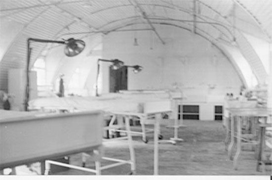 General view of one of the operating rooms, in use by the 164th General Hospital, when set up near La-Haye-du-Puits, France. Picture courtesy Robert Sheffield