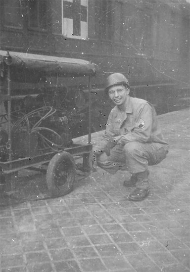 Photograph illustrating Staff Sergeant Richard O. Liptock, Gare St. Lazare, Paris, France, February 1945. Courtesy Van P. Keele.