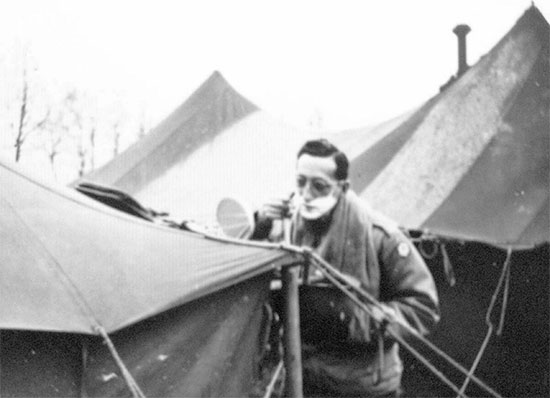 Camp-Twenty-Grand, Le Havre Staging Area. Captain Roman is having a shave. Picture taken after the unit's arrival, 26 March 1944.