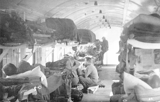 79th Field Hospital personnel and patients enroute by Hospital Train no. 71 from Toul, France, to Ludwigshafen, Germany, April 1945.