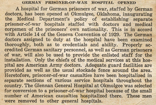 Copy of a 1944 local publication announcing the establishment of a German PW Hospital at Glennan General Hospital, Okmulgee, Oklahoma.