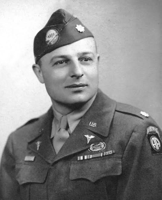 Postwar picture of Major J. J. Belden, taken some time in 1945 (the Officer was eventually transferred to the 17th Airborne Division, where he  became CO of the 224th Airborne Medical Company 1 July 1945).