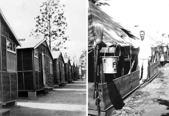 Left: Partial view of prefab hutments (set up in Company Street) used for personnel barracks in Camp McPherson, Atlanta, Georgia. This is the Reception Center where the 4th Convalescent Hospital was activated on 25 January 1943. Right: Partial view of pyramidal tents used to house additional personnel while training at the Reception Center. Both pictures taken in 1943. The organization spent most of its time at the Camp (January – September 1943) while stationed in the Zone of Interior.