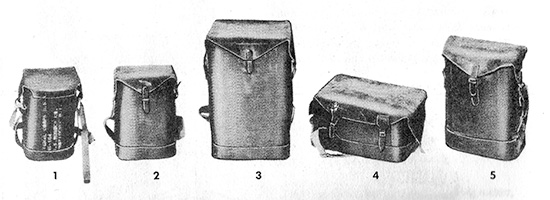 Photo illustrating range of Bags, Waterproof, Special Purpose, especially developed by the Quartermaster Corps for use during amphibious operations in World War Two.