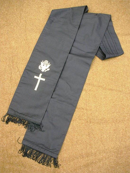 View of Chaplain's Carf, Stock No. 62-S-2505 (black with gold-colored embroidery).