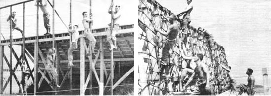 Typical examples of some of the exercises included in 'general training' of units bound for overseas operations. At left, personnel negotiating some aspects of the obstacle course. At right, men using nets for ship boarding and debarkation exercises.