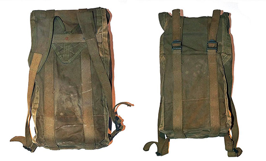 Front and rear views of the special Bag issued to members of the 4th Infantry Division Medical Detachment on D-Day. Note the large adjusting straps running along the Bag, and the integrated Suspender-style shoulder straps.