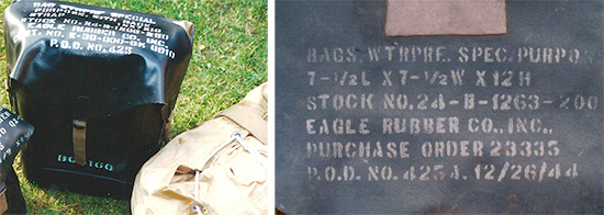 Left: llustration of Bag, Waterproof, Special Purpose, QMC Stock No. 24-B-1265-250. Right: Illustration showing white stenciled markings on cover of Bag, Waterproof, Special Purpose, QMC Stock No. 24-B-1263-200.