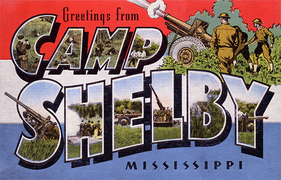 Post card from Camp Shelby, activation location of the 114th Evacuation Hospital.