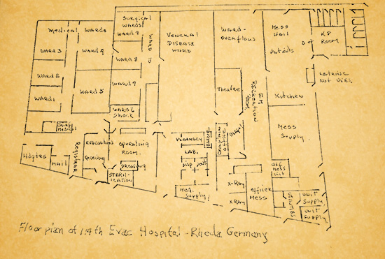 Illustration prepared by an unidentified member of the unit showing the floor plan of the 114th Evacuation Hospital's facility in Rheda, Germany.