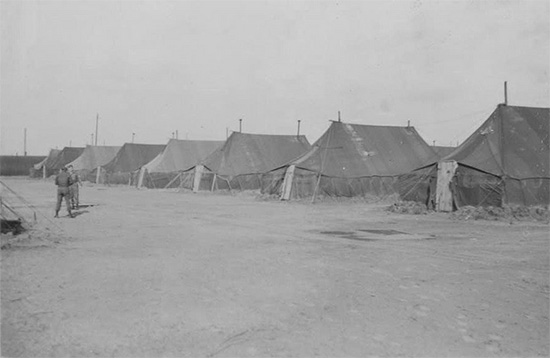 Squad Tents pitched at Camp Twenty Grand, Henouville / Duclair, France.