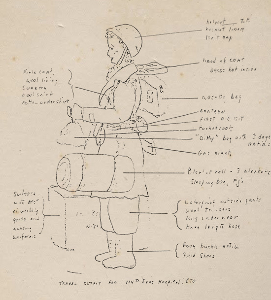 Sketch prepared by an unidentified member of the 114th Evac Hosp showing the typical field uniform of the unit's Nurses.