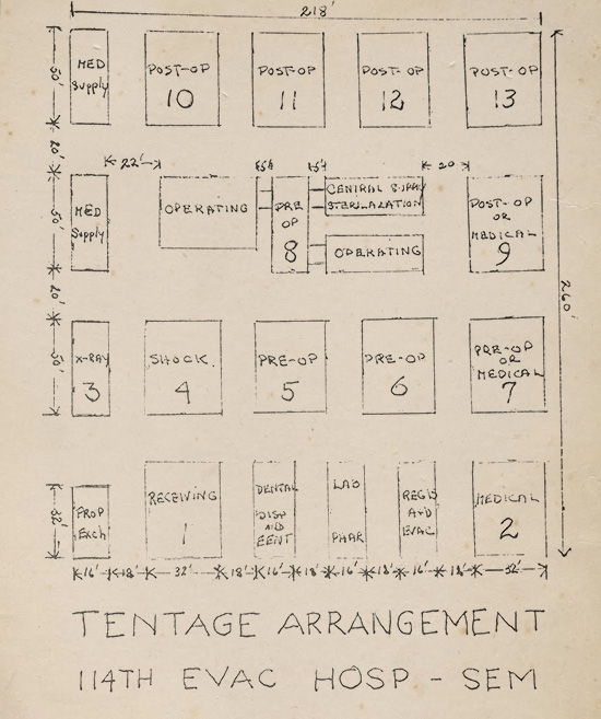 Hand-drawn layout of the 114th Evacuation Hospital's tent set up in the field.