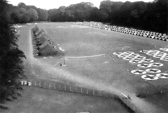 Aerial view illustrating the 15th General Hospital set up in the field (location unknown, either the United Kingdom, or France).